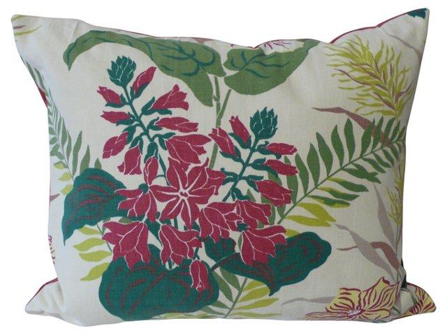 Exotic Floral & Stripe Pillow