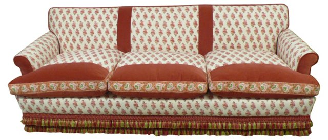 Red  Floral Sofa