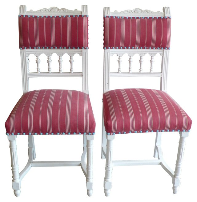 19th-C. French Side Chairs, Pair