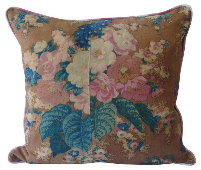 Rose & Delphinium Pillow