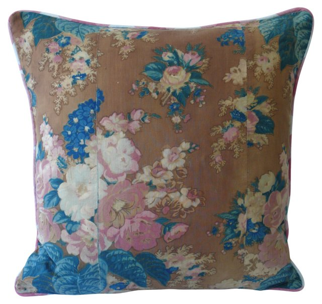 Delphinium & Rose Pillow
