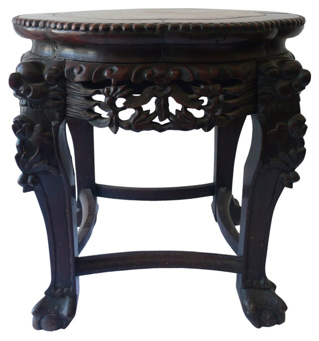 Moroccan Marble-Top Carved Table