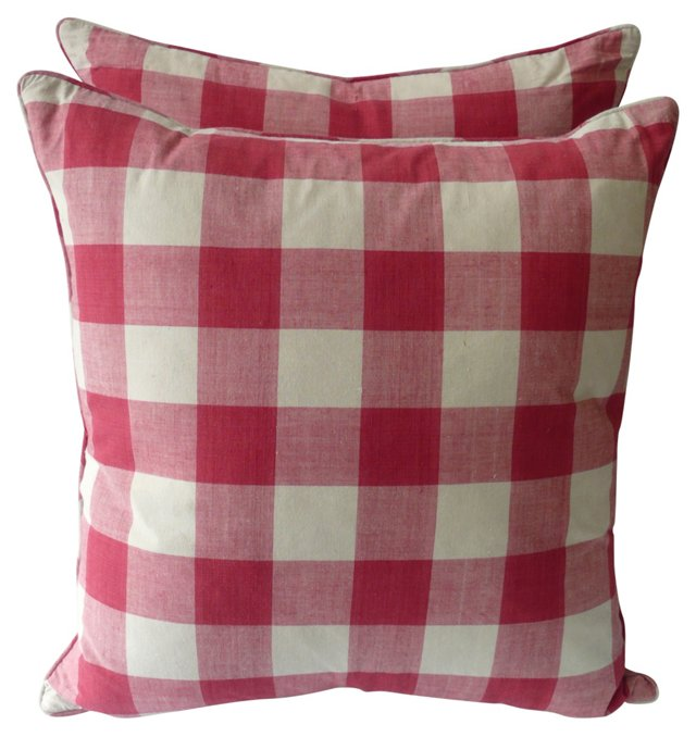 Red & White Checked Pillows, Pair