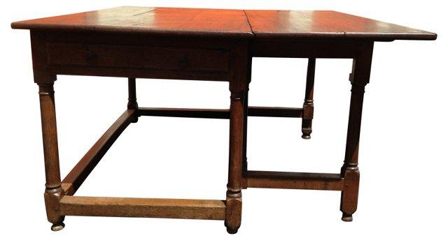 Antique French   Gate-Leg Farm Table