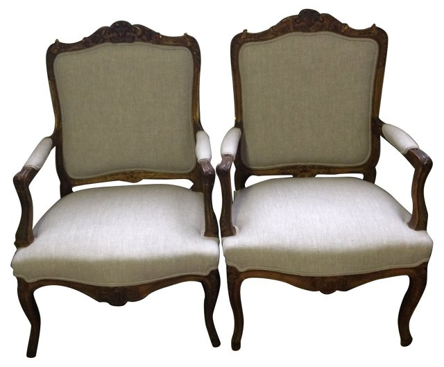 Gilded  French-Style Chairs, Pair