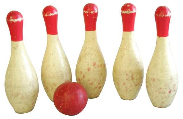 1940s Child's Wood   Bowling Set, S/6