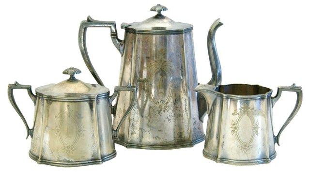 Silverplate Sheffield Tea Set, 3 Pcs