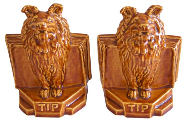 1940s Majolica Dog Tip Bookends