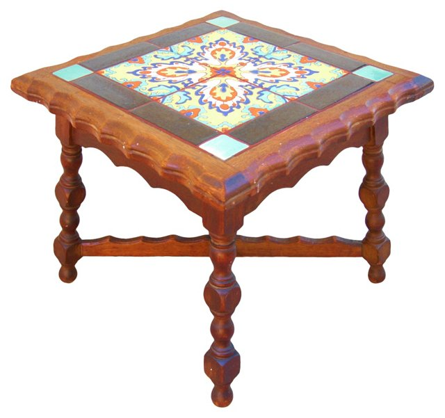 1940s California  Tile & Oak Table