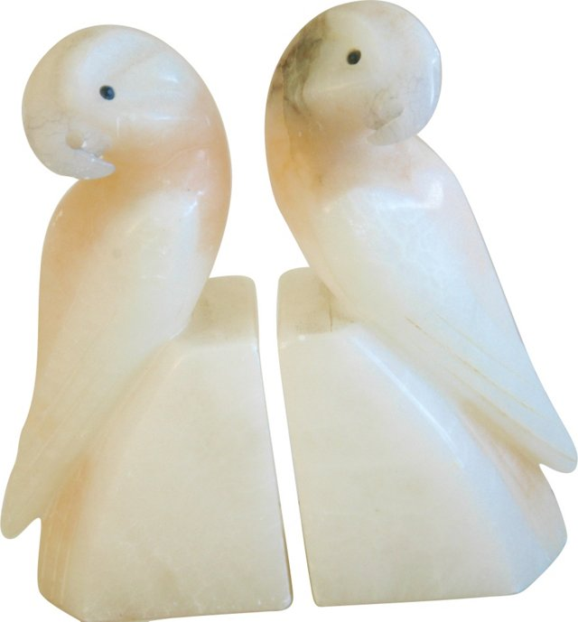 1950s Carved Italian Marble Bookends