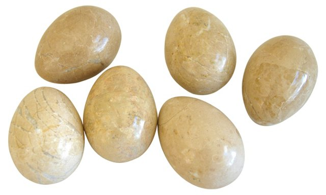 Carved &   Polished Marble Eggs, S/6