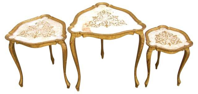 Italian  Florentine Nesting Tables,  S/3