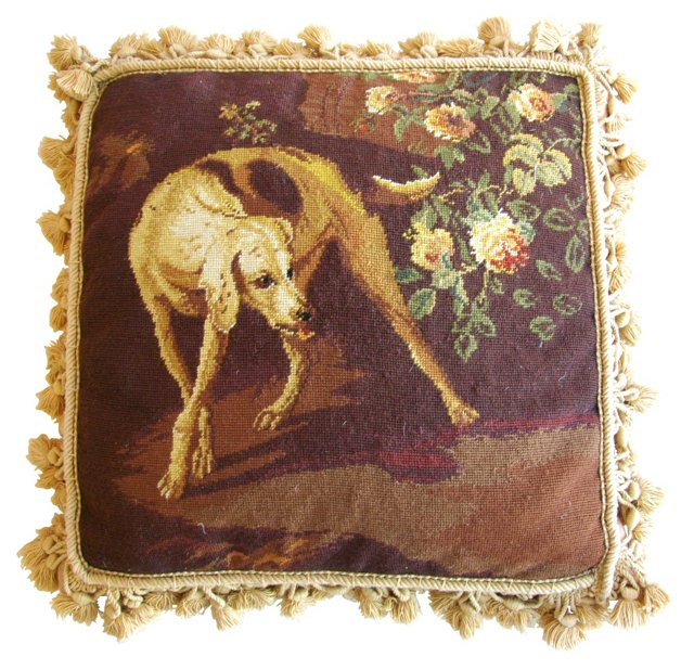 Needlepoint Dog & Floral Pillow
