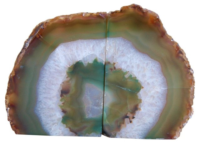 Green Crystal Agate Geode Bookends