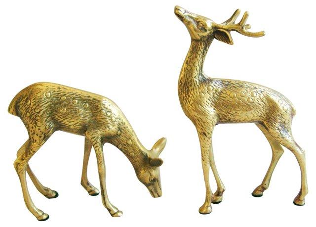 Midcentury Brass     Deer, Pair