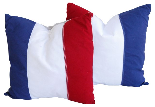 Red,   White & Blue Pillows, Pair