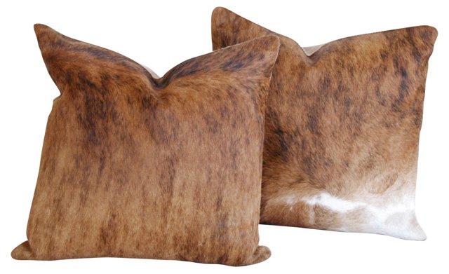 Tricolor Brindle Cowhide Pillows, Pair
