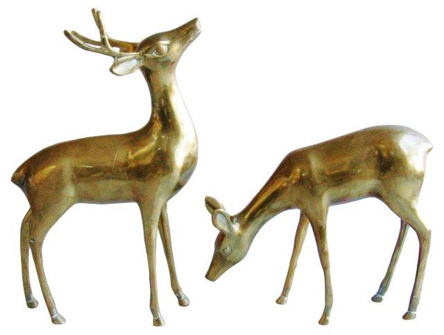 Midcentury Brass Stag & Doe, Pair