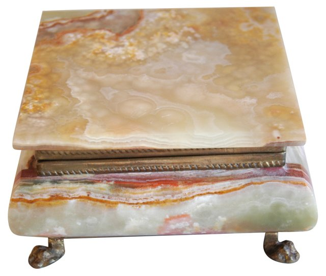 Italian Carved & Polished Marble   Box