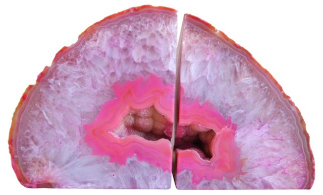 Pink  Crystal Geode Bookends