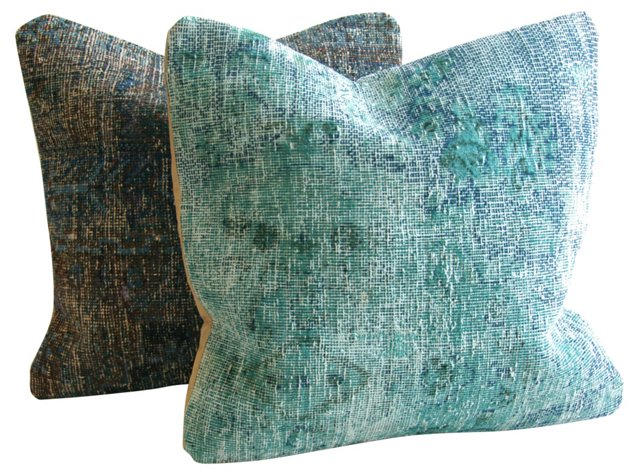 Overdyed Blue & Teal Rug Pillows, Pair