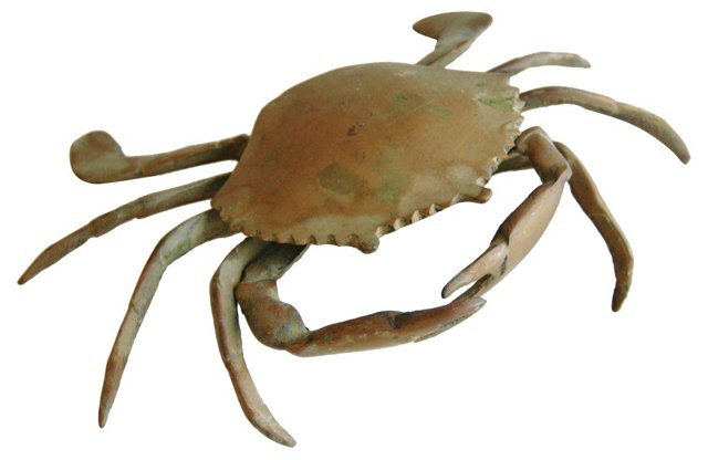 Midcentury Brass Sand Crab Box