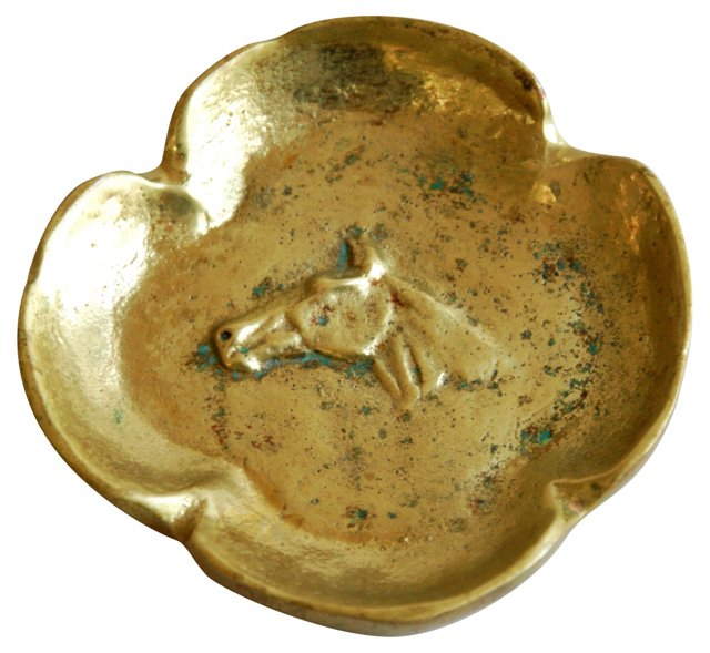 1950s Solid Brass  Horse Catchall Tray