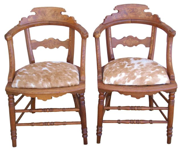Chairs w/ Cowhide Seats, Pair
