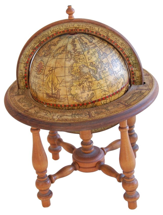 1960s Old World-Style Globe w/ Stand