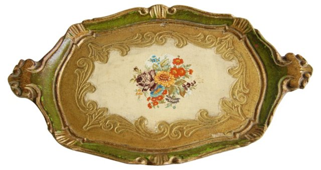 1950s Scalloped Florentine Tray