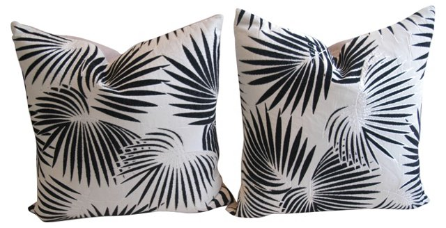 French Palm   Fabric Pillows,  Pair