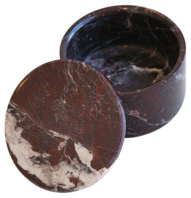 Round Italian Marble Keepsake Box