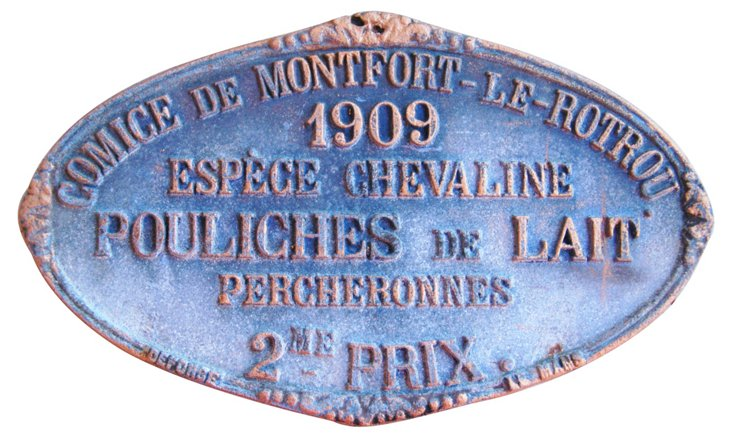 French Agricultural Award Plaque, 1909