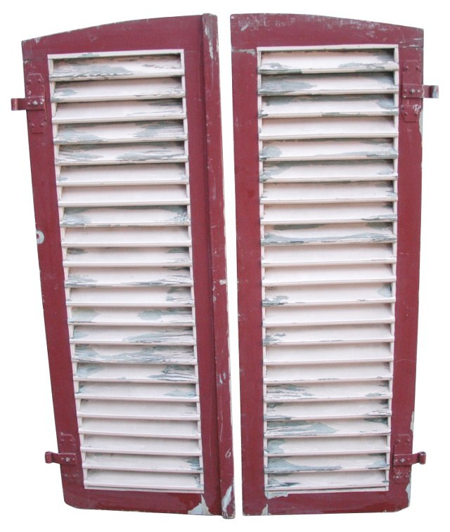 Antique European Wood   Shutters, Pair