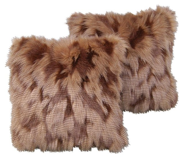 Faux-Fur Pillows, Pair