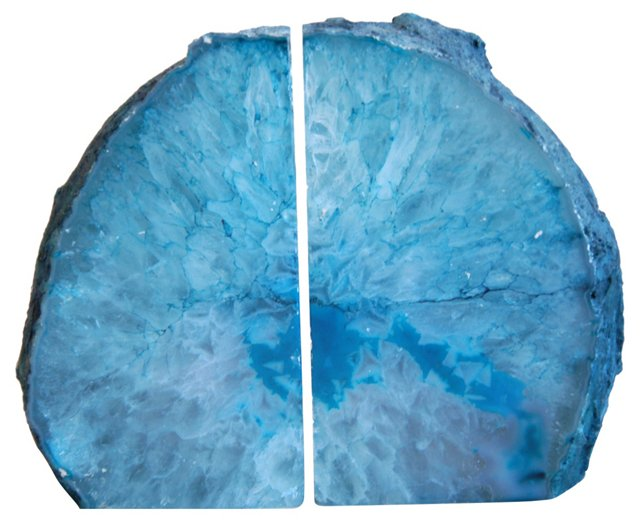Polished Crystal Geode     Bookends