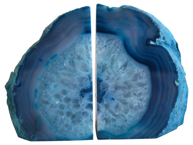 Blue & Teal Crystal Geode     Bookends