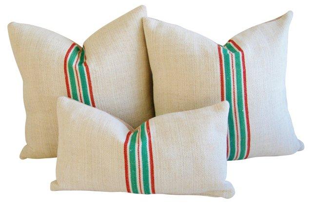 French Grain   Sack   Pillows, S/3