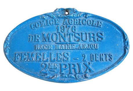 French Award Trophy Plaque, 1976