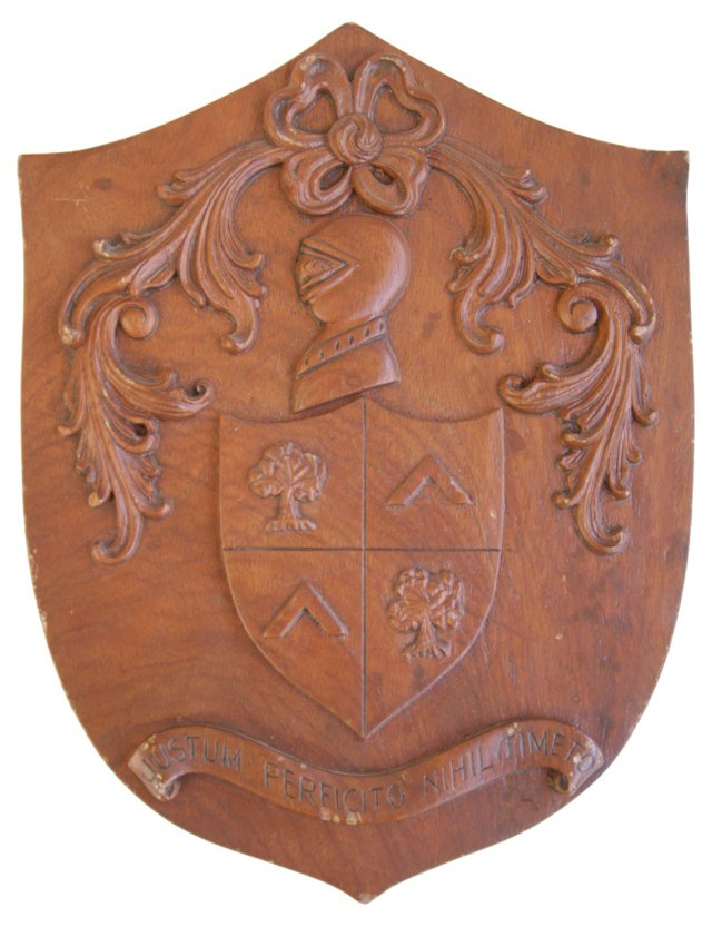 1950s Carved Wood Heraldry Plaque