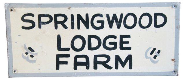 1940s Metal Springwood Lodge Farm Sign