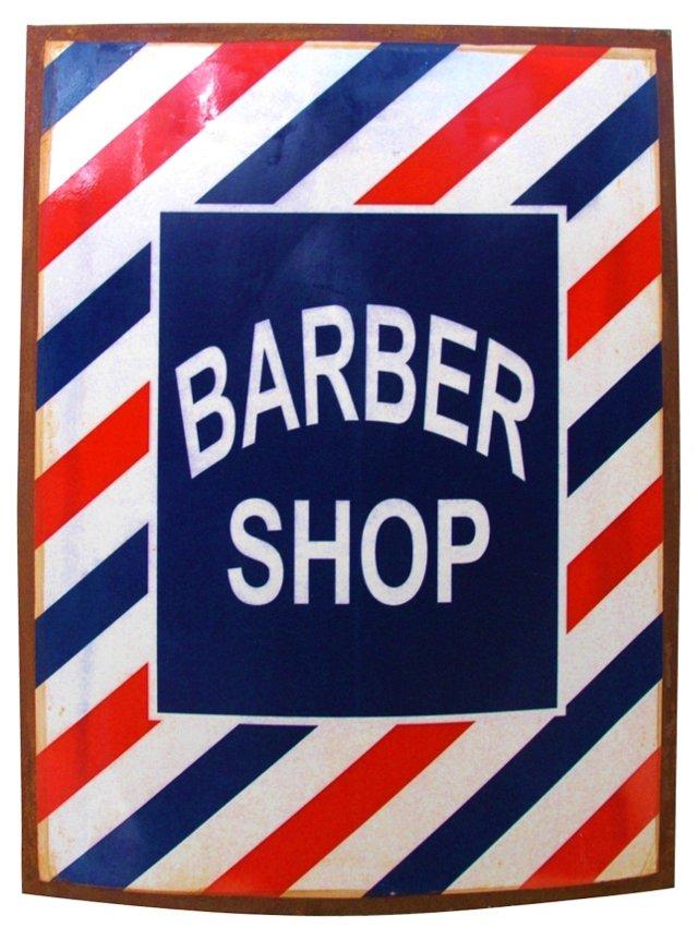 Enameled Metal Barber Shop Sign