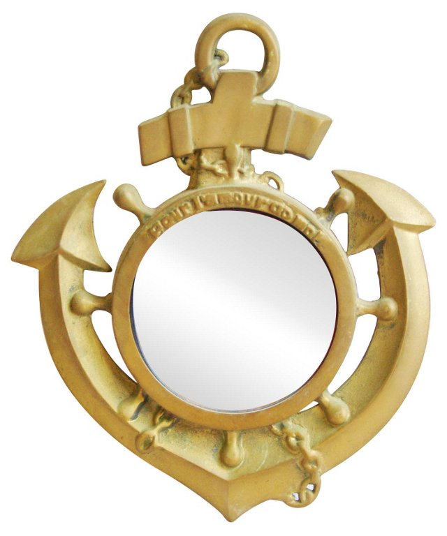 1970s  Brass  Anchor Mirror