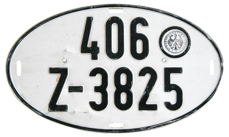 German   Automobile License Plate