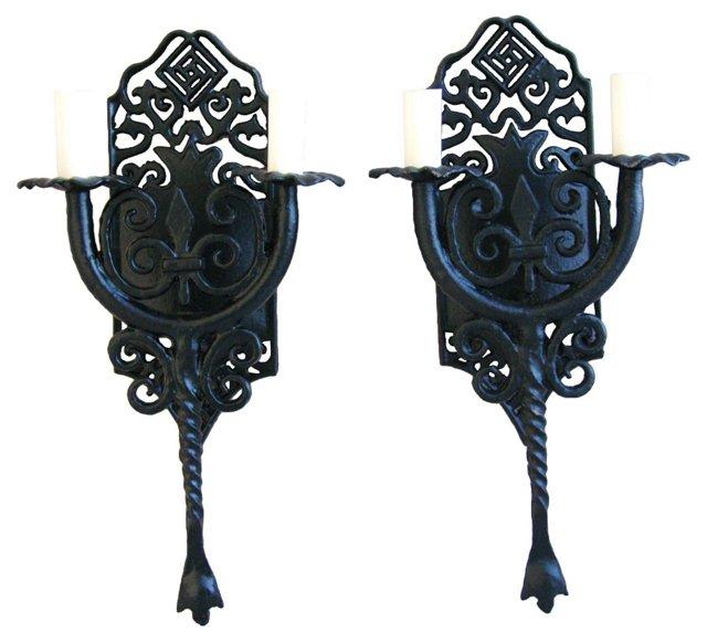 California Spanish-Style  Sconces, Pair