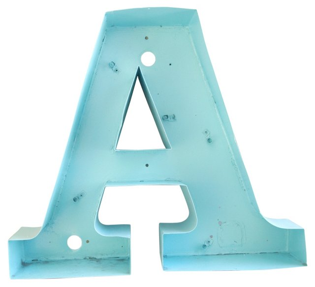 1950s Metal Marquee Letter A