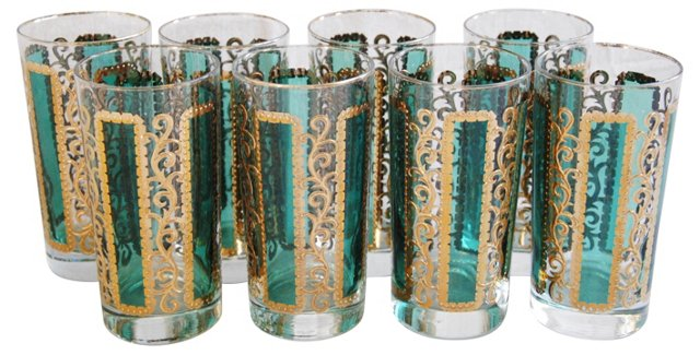 Green Teal & Gold Highball Glasses, S/8