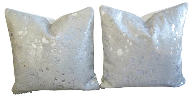 Metallic Silver Cowhide Pillows,  Pair
