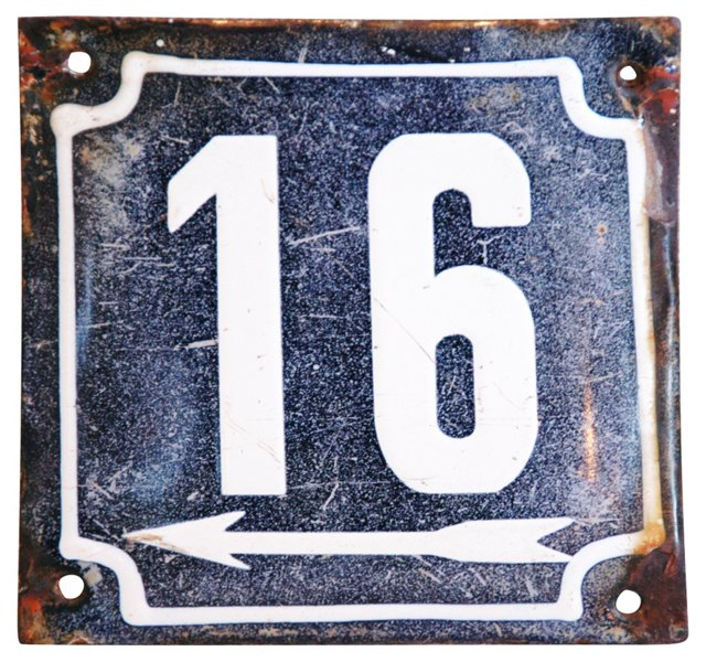 French Address Number Plaque, 16