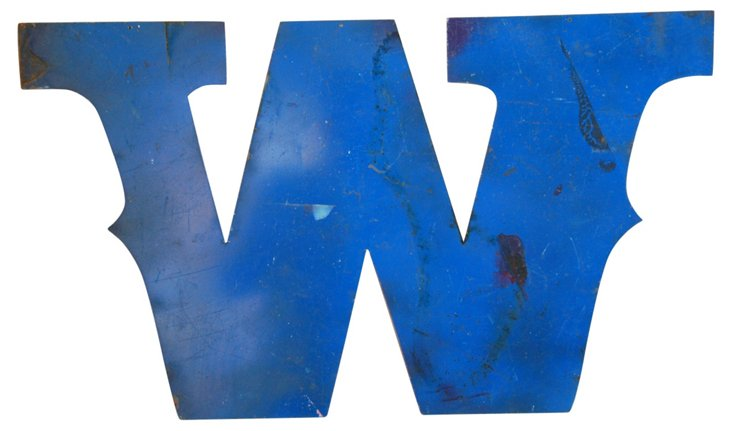 Blue Metal Marquee Letter W